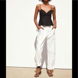 NWT Zara Rustic Black Top w/ straps. Size L